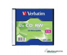 VERBATIM CD-RW 700MB Rewritable, dėžutėje