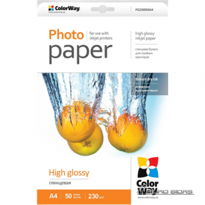ColorWay High Glossy Photo Paper, 50 sheets, A4, 230 g/m² 165038