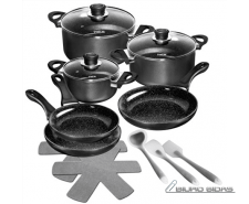 Stoneline Ceramic Cookware Set of 14 15710 3 pans; 3 po..