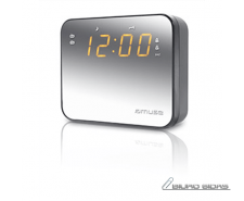 Muse Clock radio  M-165CMR Silver, 0.9 inch amber LED, ..
