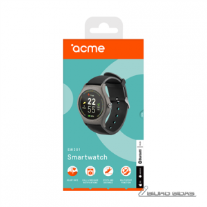 Acme Smart Watch SW201 Steps and distance monitoring, Aluminium alloy, IPS, Touchscreen, Bluetooth, Heart rate monitor, Space Gray, 228550