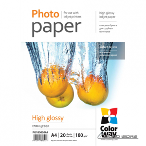 ColorWay Photo Paper 20 pcs. PG180020A4 Glossy, White, A4, 180 g/m² 232750