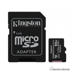 Kingston Canvas Select Plus UHS-I 64 GB, MicroSDXC, Flash memory class 10, SD Adapter 272529