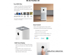Xiaomi Mi Air Purifier 3H White, 38 W, Suitable for roo..
